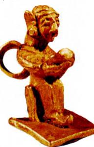 Diskus başlıklı minyatür oturan tanrıça