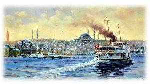 İstanbul'da vapur ve deniz.