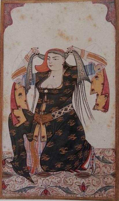 Resim 2. Yemenisini Bağlayan Hanım, Levnî, y. 1720-25