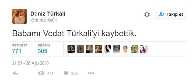 """Deniz Türkali: """"Babamı Vedat Türkali'yi kaybettik"""""""