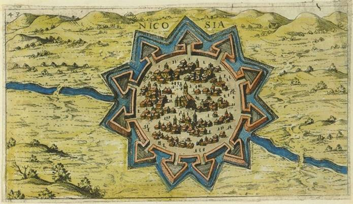 1597'de hazırlanmış, Venedik Surları'yla çevrili Lefkoşa'nın haritası. (Giacomo Franco)