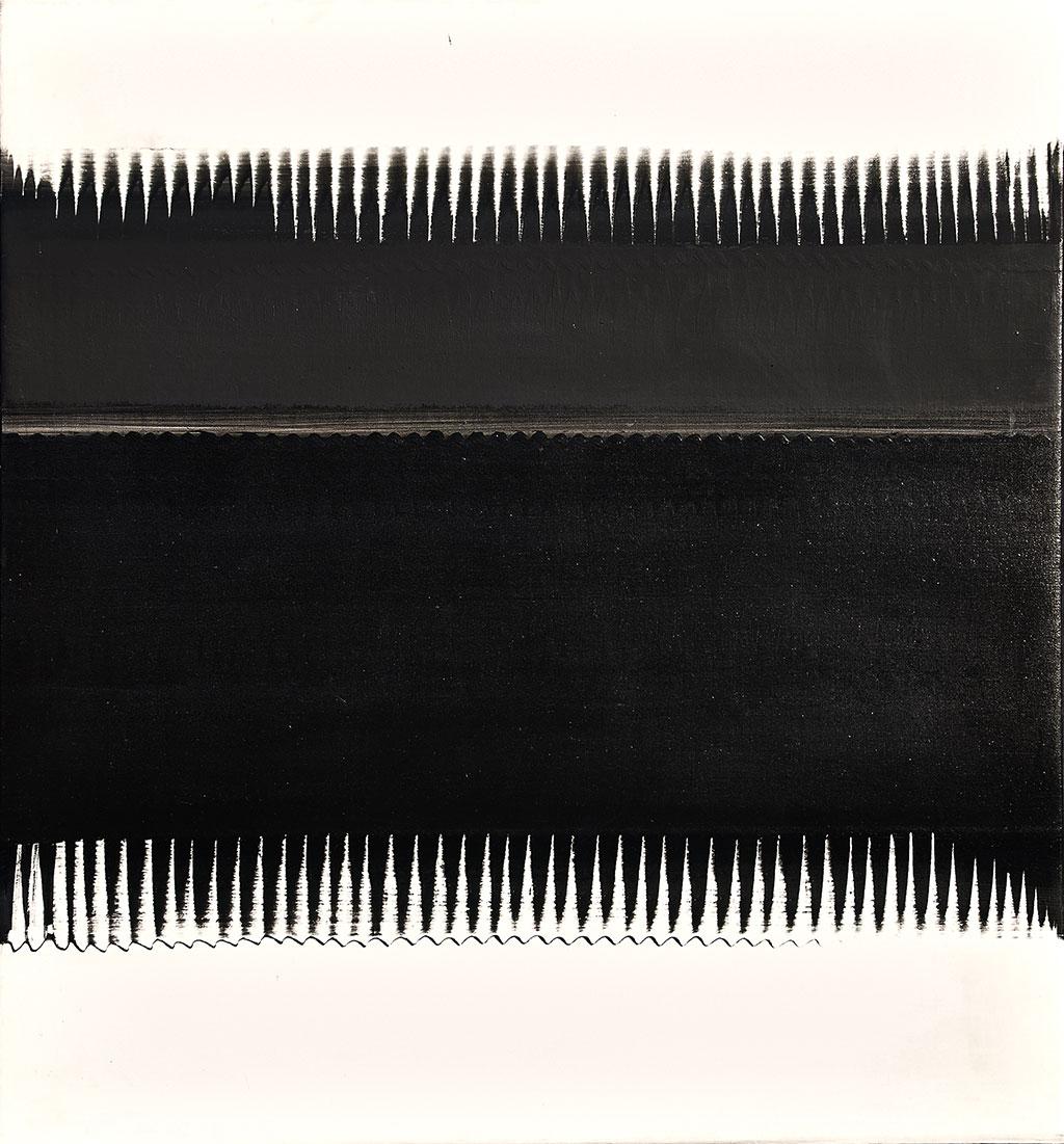 Heinz Mack (1931 -) Dinamik Strüktür (Beyaz Üzerine Siyah), 1962 Amerikanbezi üzerine sentetik reçine 130 x 120 cm Studio Mack