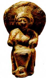 Diskus başlıklı oturan tanrıça
