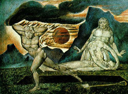 """William Blake, """"Adem ile Havva, Habil'in Cesedini Buluyor"""", 1825."""