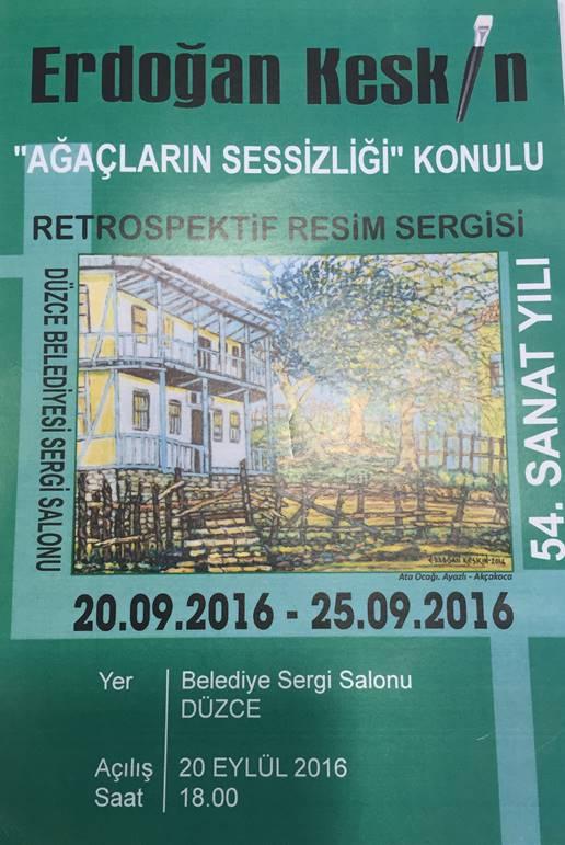 """Sergi davetiyesindeki resim, Erdoğan Keskin'in """"Ata ocağı"""" dediği, Akçakoca'nın Ayazlı Mahallesi'nde olan çok eski bir ev."""