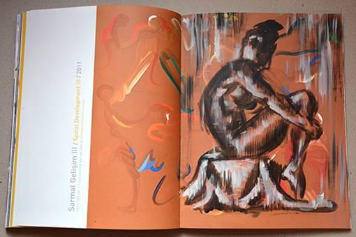 Bir başka sanatçı kitabı Mustafa Ata'ya aitti. Kitaptaki resimlerden hareketle görseller oluşturduğum gibi boş alanlarda da akrilik figür ve orjinal portreler çalıştım.