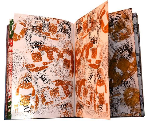 Faruk Kutlu- Mukavva kapak kitap üzerine sünger baskı (14x21 cm-47 resim)